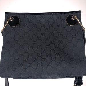 Gucci Black Canvas Patent Leather Cross Body Bag